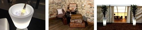 Koffer Vintage, LED Sektkühler, beleuchtete Blumenkübel